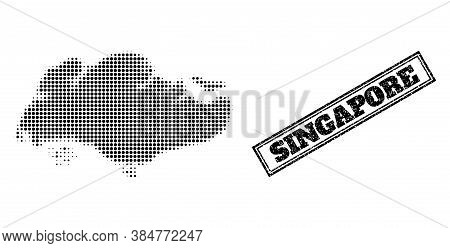 Halftone Map Of Singapore, And Scratched Stamp. Halftone Map Of Singapore Made With Small Black Sphe