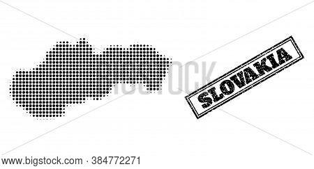 Halftone Map Of Slovakia, And Grunge Watermark. Halftone Map Of Slovakia Made With Small Black Spher