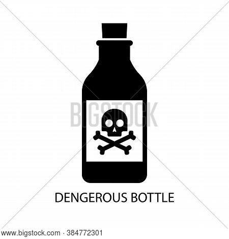 Bottle Black Sign Icon And Skull And Crossbones Sign. Vector Illustration Eps 10