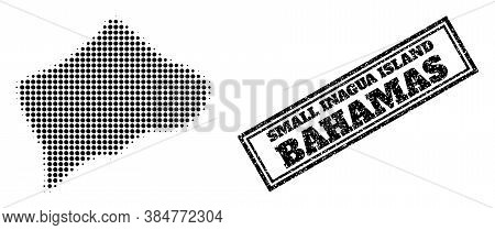 Halftone Map Of Small Inagua Island, And Rubber Seal Stamp. Halftone Map Of Small Inagua Island Gene
