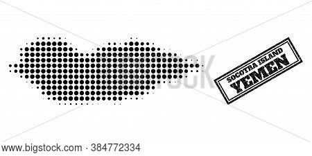 Halftone Map Of Socotra Island, And Grunge Seal Stamp. Halftone Map Of Socotra Island Generated With