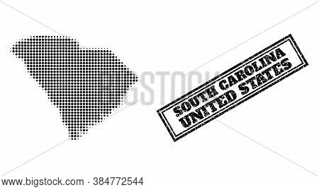 Halftone Map Of South Carolina State, And Unclean Seal Stamp. Halftone Map Of South Carolina State M