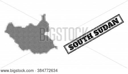 Halftone Map Of South Sudan, And Rubber Watermark. Halftone Map Of South Sudan Constructed With Smal