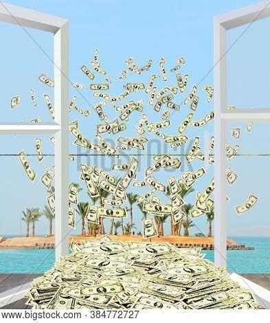 Heap Of Dollars Flying Away From Window Overlooking Tropical Island. Dollar Bills By Opened Window W