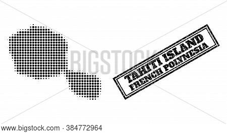 Halftone Map Of Tahiti Island, And Scratched Watermark. Halftone Map Of Tahiti Island Generated With