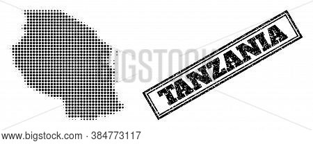 Halftone Map Of Tanzania, And Unclean Seal. Halftone Map Of Tanzania Made With Small Black Round Ite