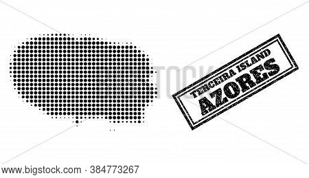 Halftone Map Of Terceira Island, And Unclean Seal Stamp. Halftone Map Of Terceira Island Made With S