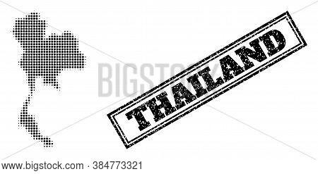 Halftone Map Of Thailand, And Unclean Seal. Halftone Map Of Thailand Constructed With Small Black Ci