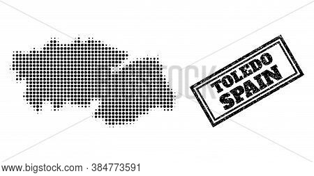 Halftone Map Of Toledo Province, And Rubber Seal Stamp. Halftone Map Of Toledo Province Made With Sm