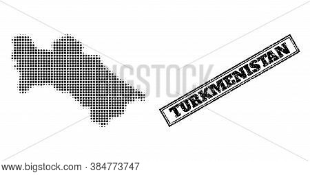 Halftone Map Of Turkmenistan, And Rubber Seal Stamp. Halftone Map Of Turkmenistan Made With Small Bl
