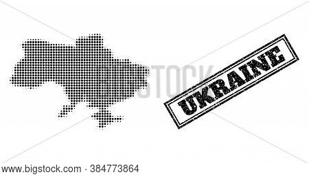 Halftone Map Of Ukraine, And Scratched Stamp. Halftone Map Of Ukraine Constructed With Small Black C
