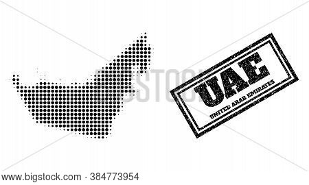 Halftone Map Of United Arab Emirates, And Unclean Seal Stamp. Halftone Map Of United Arab Emirates D