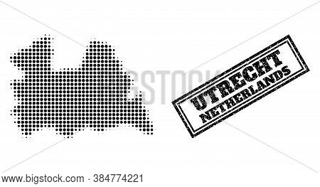 Halftone Map Of Utrecht Province, And Unclean Seal Stamp. Halftone Map Of Utrecht Province Construct