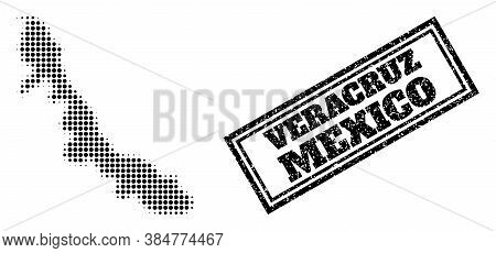 Halftone Map Of Veracruz State, And Unclean Watermark. Halftone Map Of Veracruz State Made With Smal