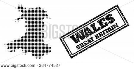 Halftone Map Of Wales, And Textured Stamp. Halftone Map Of Wales Designed With Small Black Round Ite