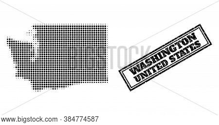 Halftone Map Of Washington State, And Textured Seal Stamp. Halftone Map Of Washington State Made Wit