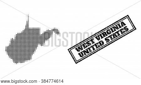 Halftone Map Of West Virginia State, And Unclean Seal. Halftone Map Of West Virginia State Designed