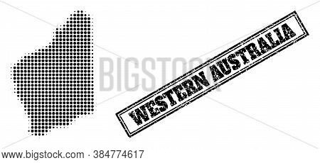Halftone Map Of Western Australia, And Dirty Seal. Halftone Map Of Western Australia Made With Small