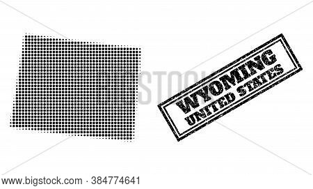Halftone Map Of Wyoming State, And Scratched Seal Stamp. Halftone Map Of Wyoming State Constructed W