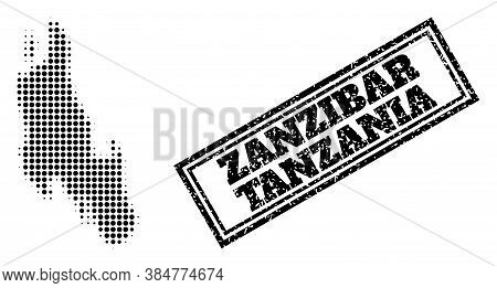 Halftone Map Of Zanzibar Island, And Dirty Seal. Halftone Map Of Zanzibar Island Generated With Smal