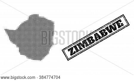 Halftone Map Of Zimbabwe, And Unclean Watermark. Halftone Map Of Zimbabwe Designed With Small Black