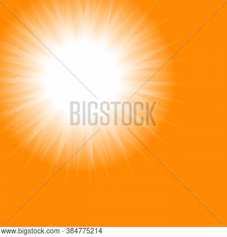 Orange Sun. Bright Sunset Sky Orange Background. Jpeg Illustrations. Beautiful Sunny Banner With Sun