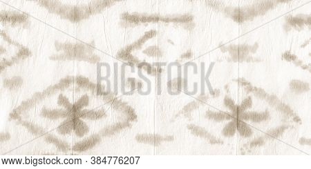 Old Paper Ikat Chevron. Tie Dye Shibori. Abstract Paint Aquarel Spots. Dirty Art Texture. Ikad Chevr
