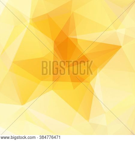 Background Made Of Yellow, White Triangles. Square Composition With Geometric Shapes. Eps 10
