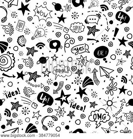 Seamless Pattern Doodle For Teenagers. Vector Illustration In Hand Drawn Stile. For Web, Fabric, Tex