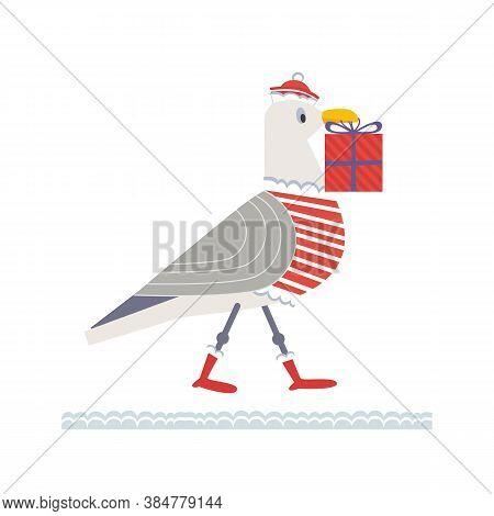 Cute Seagull In Santa Dress Vector Icon. Playful Bird, Christmas Gift Box Humour Cartoon Design Elem