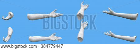 Set Of White Stone Statue Hand Detailed Renders Isolated On Blue, Lights And Shadows Distribution Ex