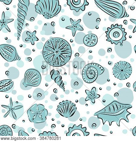 Starfishes And Seashells Hand Drawn Vector Seamless Pattern In White And Light Blue Tones. Illustrat