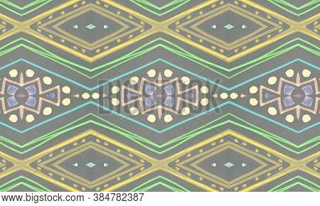 Seamless Tribal Background. Gray Navajo Ethnic Pattern. Drawn By Pencil Aztec Border. Geometric Trad