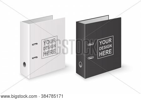 Vector 3d Closed Realistic White And Black Blank Office Binder With Metal Rings For A4 Paper Sheet C