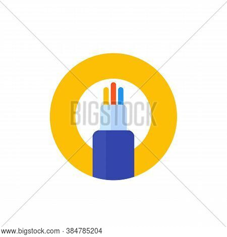 Optic Fiber Cable Vector Icon, Flat, Eps 10 File, Easy To Edit