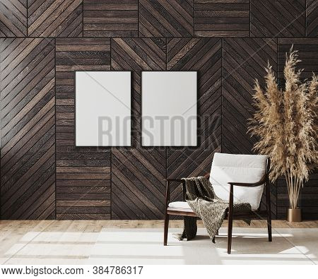 Blank Poster Frames Mock Up In Empty Modern Room Interior Background With Wooden Decorative Panel On