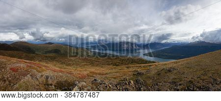 Panoramic View Canadian Nature On Top Of Nares Mountain During Fall Season. Located In Carcross, Nea