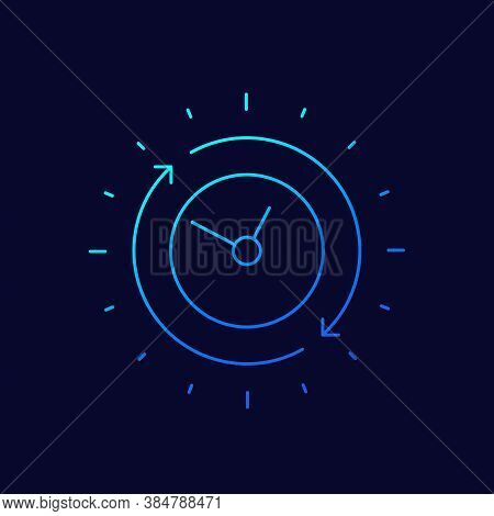 Duration Icon, Thin Line Vector, Eps 10 File, Easy To Edit