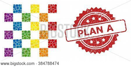 Chess Board Collage Icon Of Circle Blots In Different Sizes And Lgbt Colored Color Tints, And Plan A