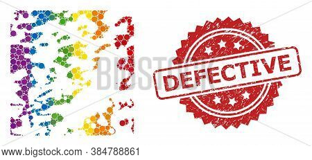 Destructed Mosaic Icon Of Filled Circle Spots In Various Sizes And Lgbt Colored Color Hues, And Defe