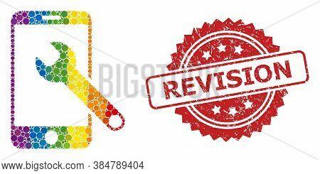 Smartphone Repair Collage Icon Of Round Dots In Variable Sizes And Lgbt Color Tinges, And Revision G