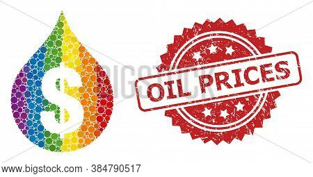 Oil Drop Price Mosaic Icon Of Round Elements In Variable Sizes And Lgbt Bright Color Tinges, And Oil