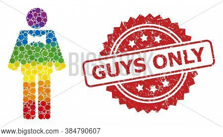 Groom Collage Icon Of Circle Blots In Different Sizes And Rainbow Colored Color Tones, And Guys Only