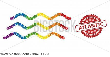Water Waves Mosaic Icon Of Circle Spots In Variable Sizes And Lgbt Colorful Color Tints, And Atlanti
