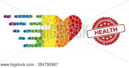 Rush Lovely Heart Collage Icon Of Spheric Spots In Variable Sizes And Lgbt Color Hues, And Health Ru