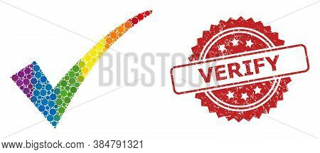 Confirm Tick Collage Icon Of Spheric Blots In Different Sizes And Lgbt Bright Color Tints, And Verif