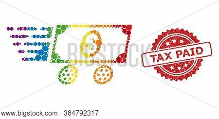 Dollar Delivery Wagon Mosaic Icon Of Spheric Spots In Variable Sizes And Lgbt Colorful Color Tints,