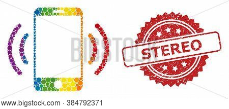 Cellphone Vibration Collage Icon Of Circle Dots In Different Sizes And Spectrum Colored Shades, And