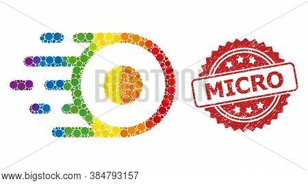 Core Flight Mosaic Icon Of Spheric Dots In Various Sizes And Lgbt Colored Shades, And Micro Rubber R