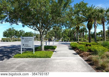 Orlando,fl/usa -5/7/20:  The Directional Sign Pointing To Burnett School Of Biomedical Sciences And